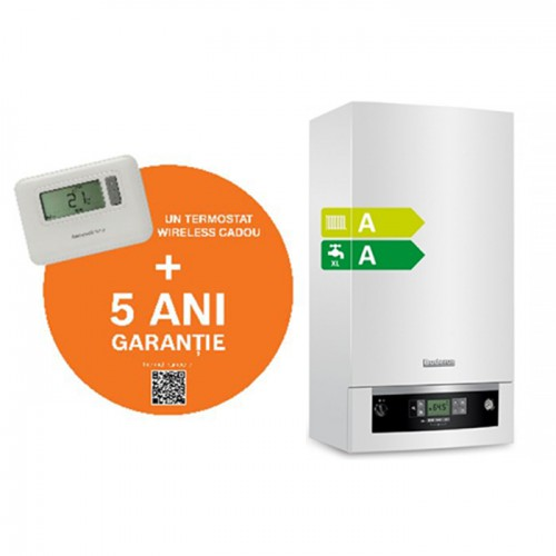 Centrala termica cu condensare Buderus Logamax Plus GB072 24 K V2, 24 kW + Termostat wireless